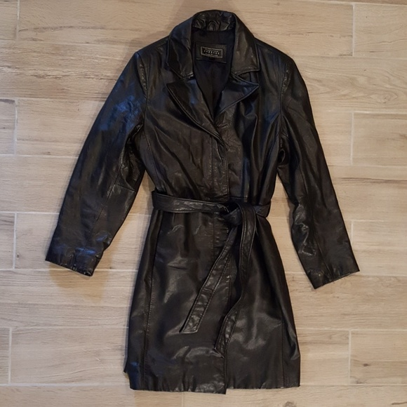 Express Jackets & Blazers - Express Large Leather Thinsulate Lined Belt Jacket
